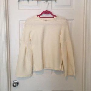 Madewell long flared sleeve cream shirt